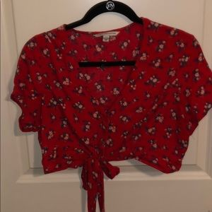 flowy red floral two piece set